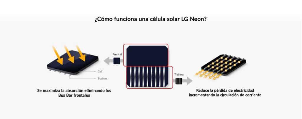 Funcionamiento de la célula solar de la placa solar LG NEON