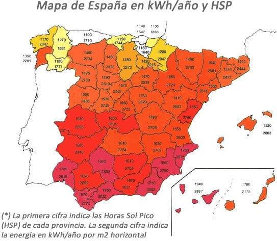 Mapa Solar España horas sol pico