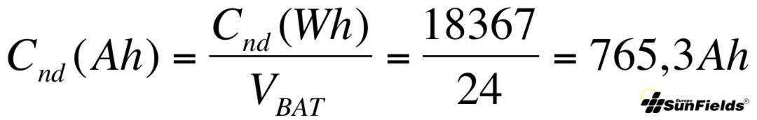 ecuación cálculo capacidad batería Ah descarga diaria