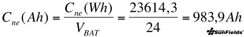 ecuación cálculo capacidad batería Ah descarga estacional