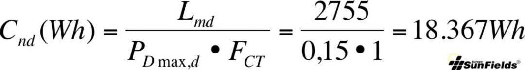 ecuación cálculo capacidad batería Wh descarga_diaria