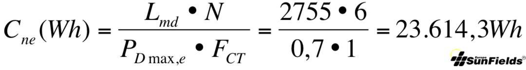 ecuación cálculo capacidad batería Wh descarga estacional