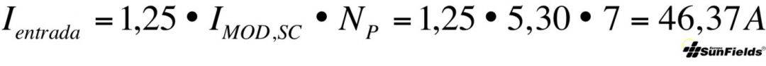 ecuación cálculo corriente entrada regulador fotovoltaica aislada