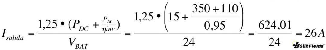 ecuación cálculo corriente salida regulador fotovoltaica aislada