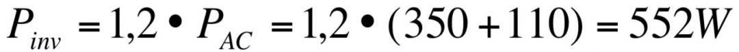 ecuación cálculo inversor fotovoltaica aislada