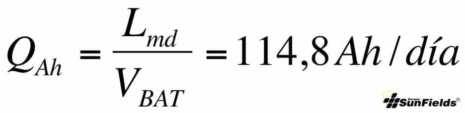 ecuación consumo medio Ah fotovoltaica autonoma