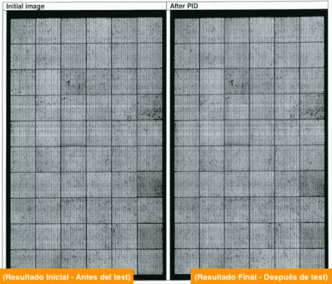 vista termográfica de una placa solar antes y después del test pid