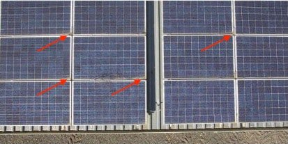 accumulation of dust on solar panel corners
