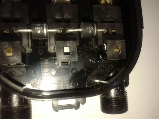 solar module junction box inside view