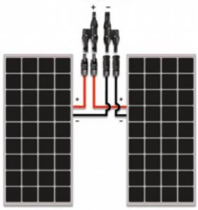 Esquema de conexión en paralelo de placas fotovoltaicas