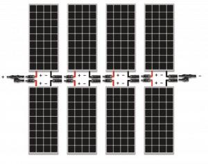Esquema de conexión en serie-paralelo de placas fotovoltaicas