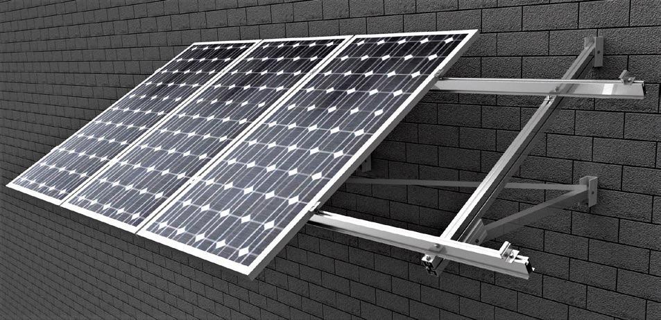 Estructura para placa solar sobre fachada