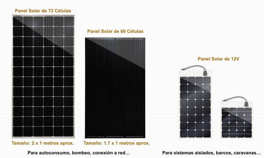 Paneles solares según el número de 72 y 60 células