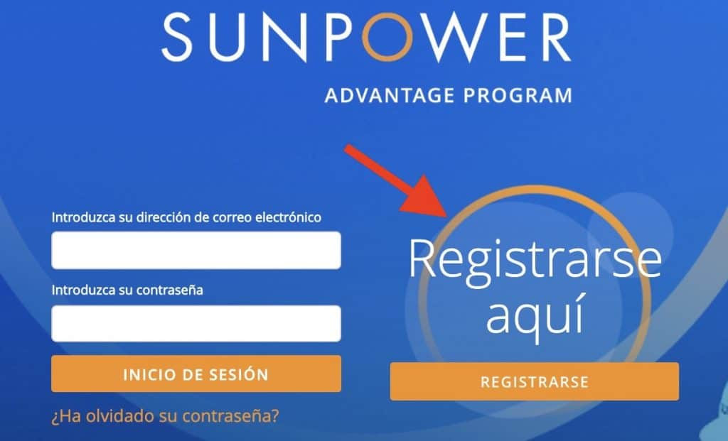 Registro SunPower - Paso 1