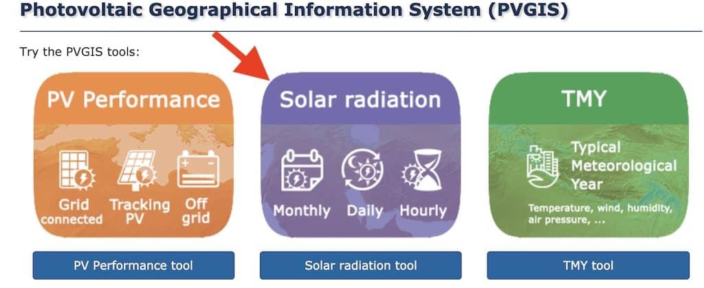 Seleccionar la opción de radiación solar