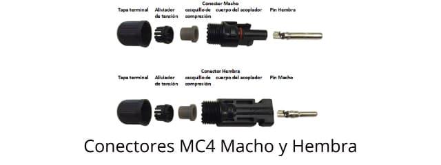 conectores MC4 utilizados en paneles solares